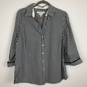 FoxCroft black and white gingham button down top